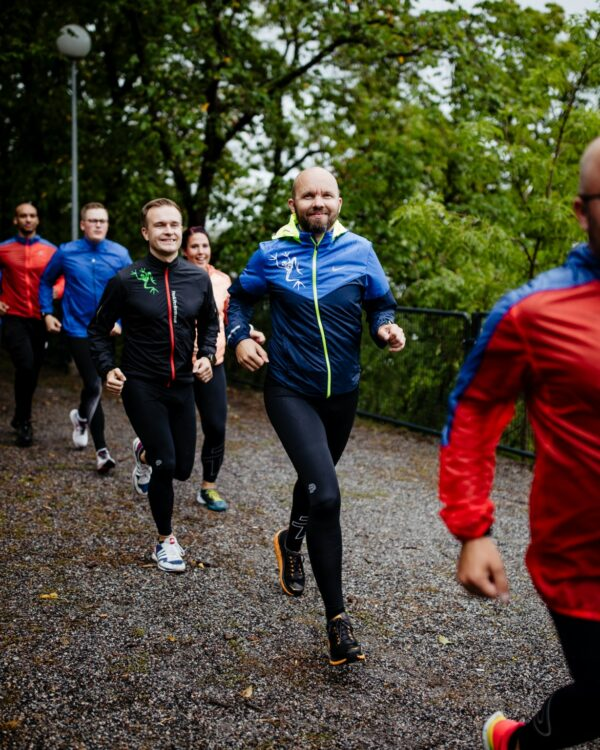 group running in a park
