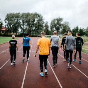 group on a running track